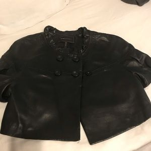 BCBG short sleeve leather jacket
